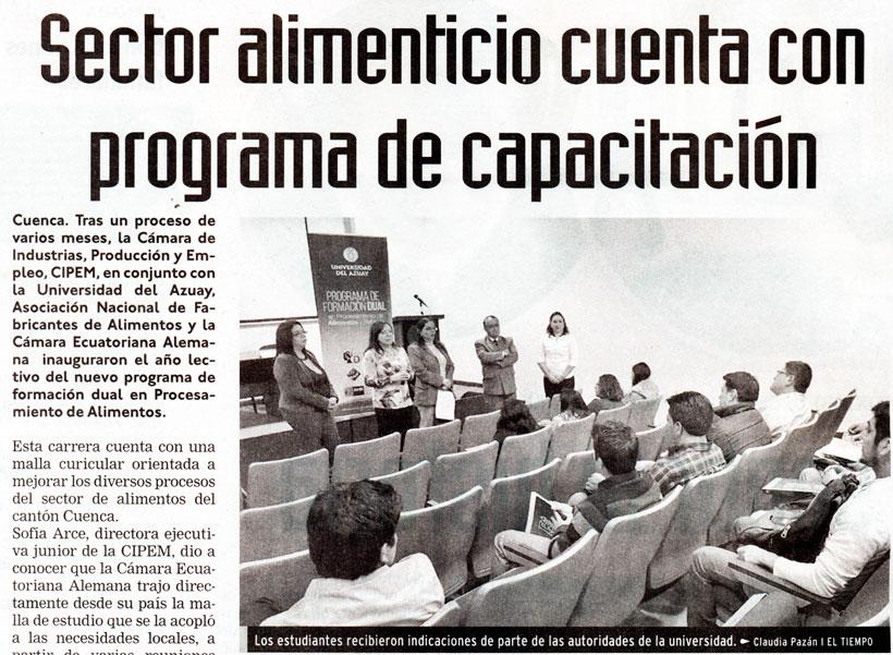 Food sector has a training program - Universidad del Azuay
